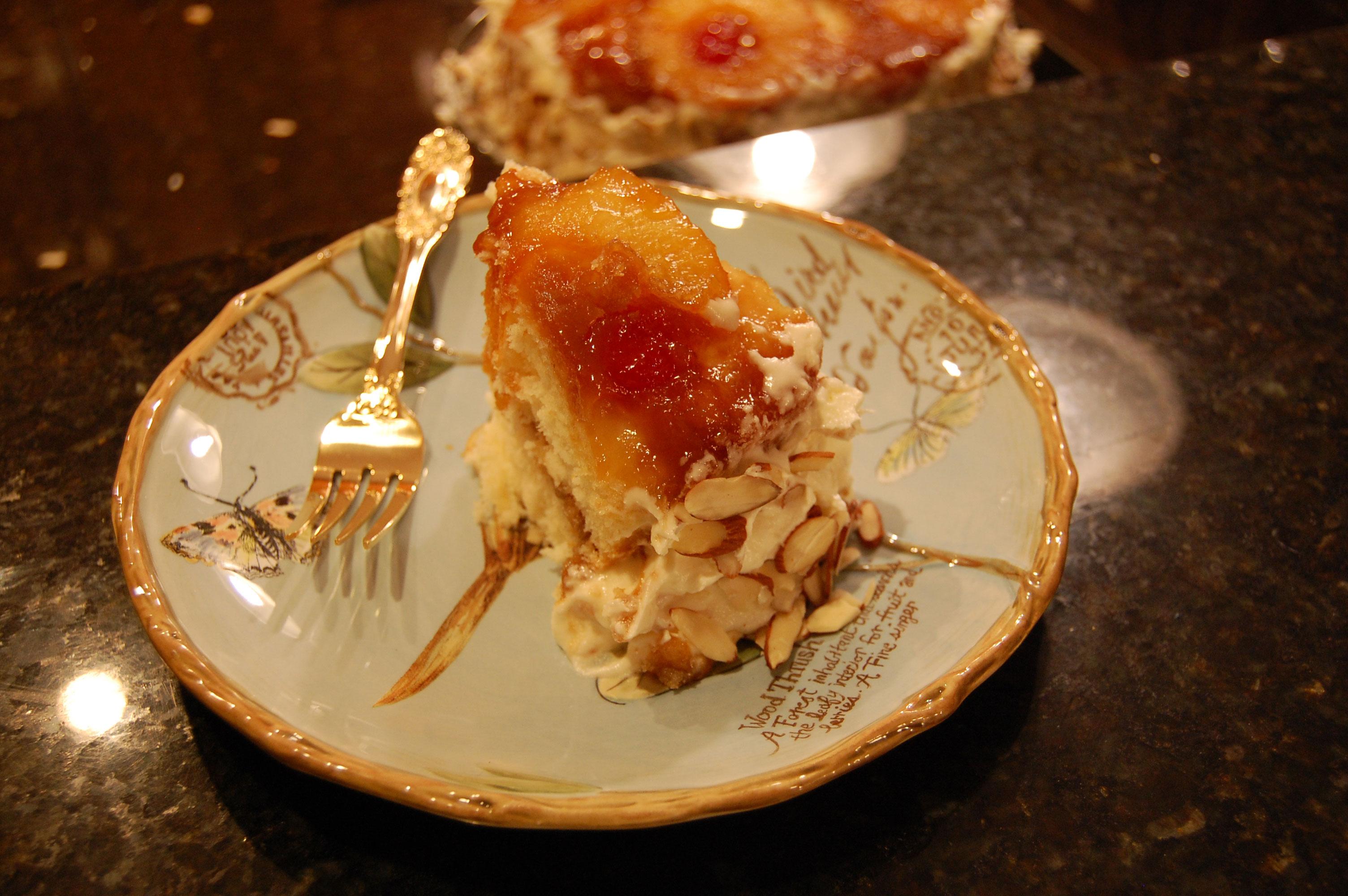 Serving Pineapple Upside Down Cake