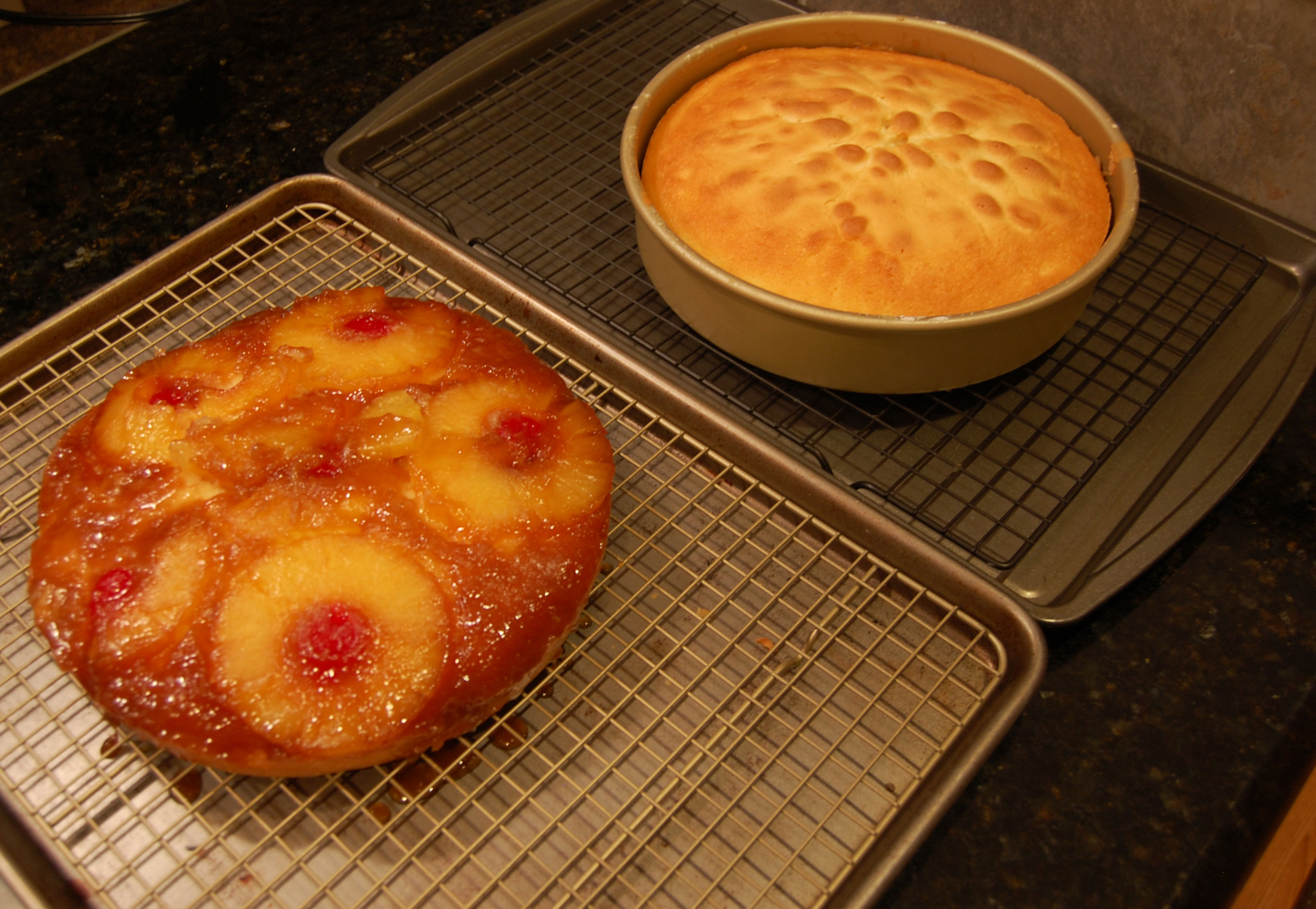 Getting the Pineapple Upside Down Cakes Out of the Oven