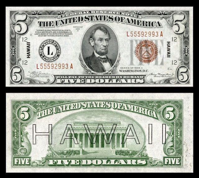 Hawaii Overprint Banknotes Five Dollar Bill