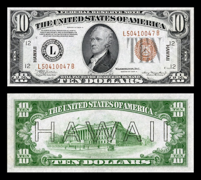 Hawaii Overprint Banknotes Ten Dollar Bill