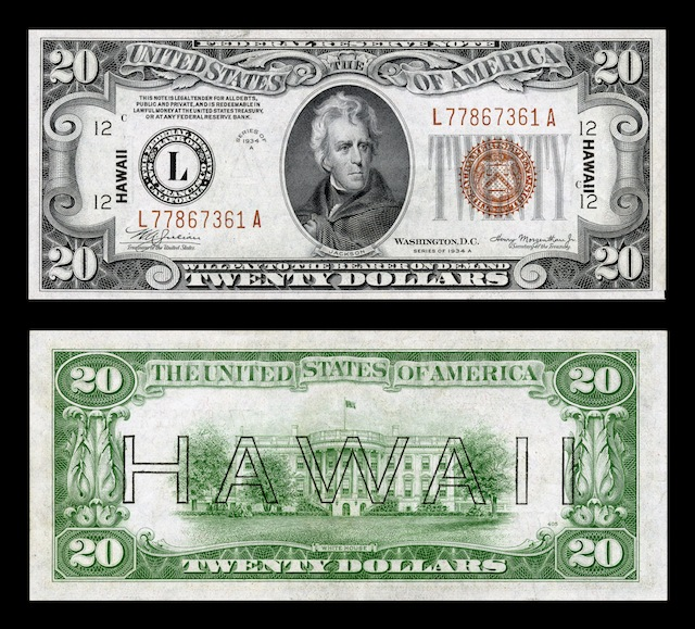Hawaii Overprint Banknotes Twenty Dollar Bill
