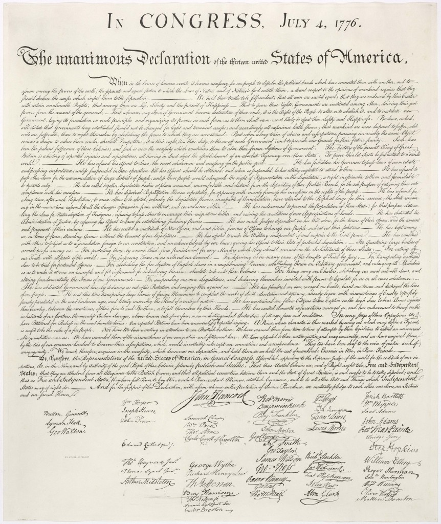 United States Declaration of Independence Cursive