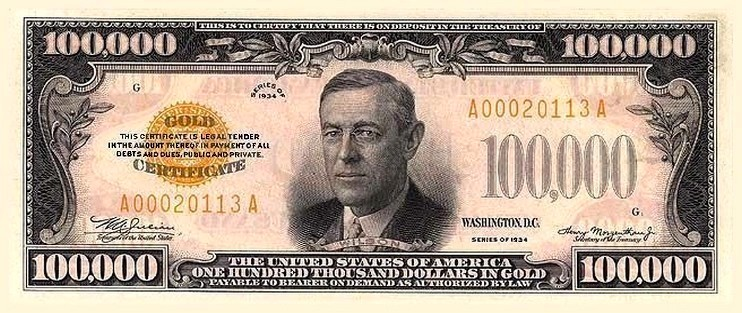 $100,000 Bill United States Congress