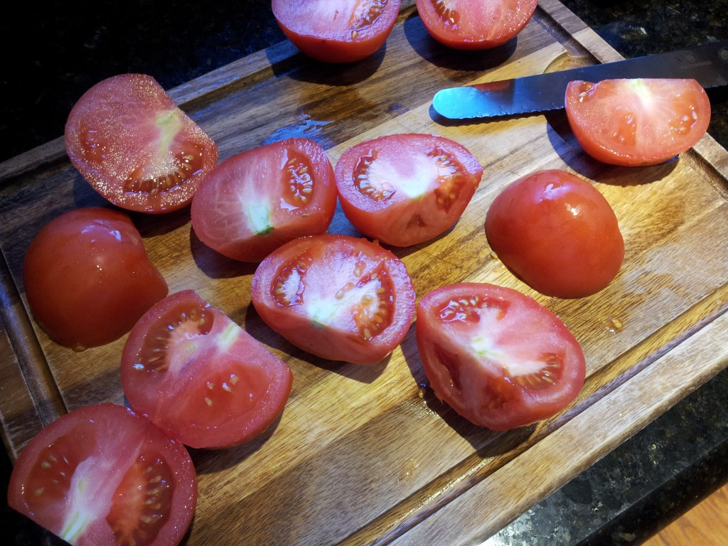 Cut Tomatoes for Tomato and Cream Sauce