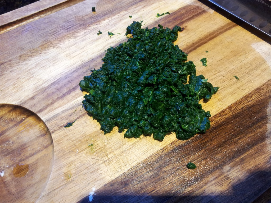 Cutting Spinach for Spinach Pasta