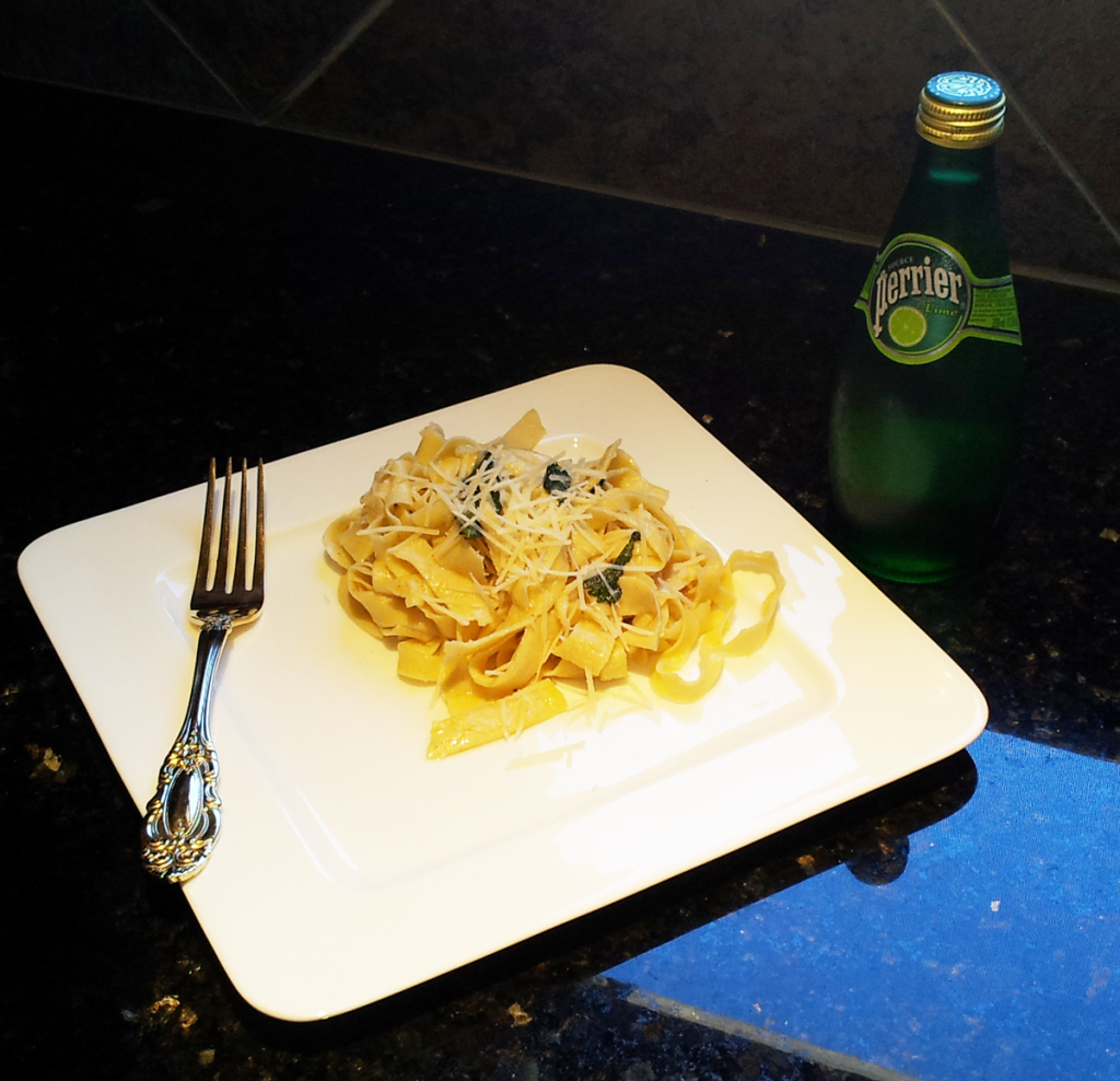 Finished Sage and Butter Sauce Over Freshly Made Pasta