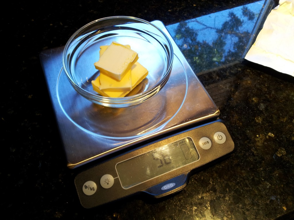 Measuring the Butter for Butter and Sage Sauce