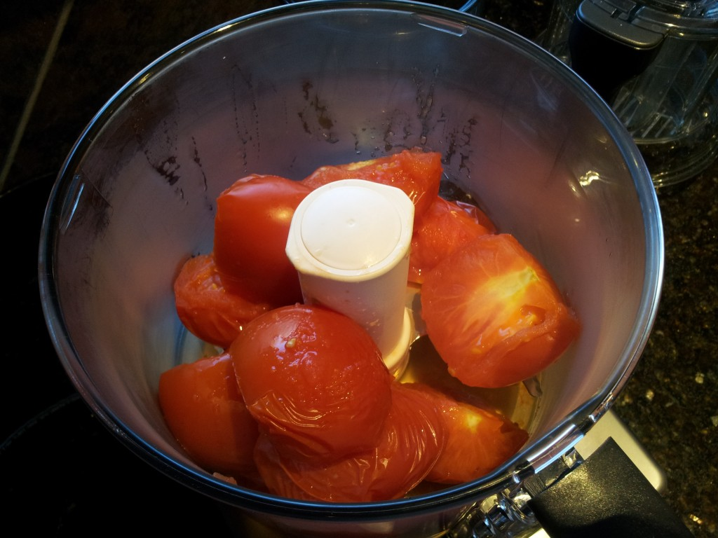 Steamed Tomatoes in a Food Processor