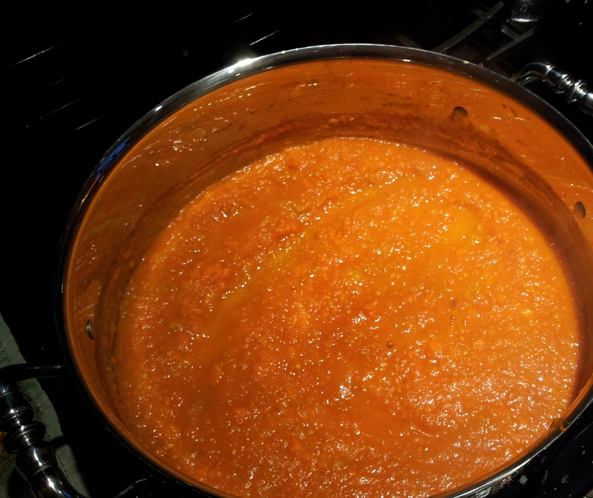 Tomato Sauce with Heavy Cream Simmering