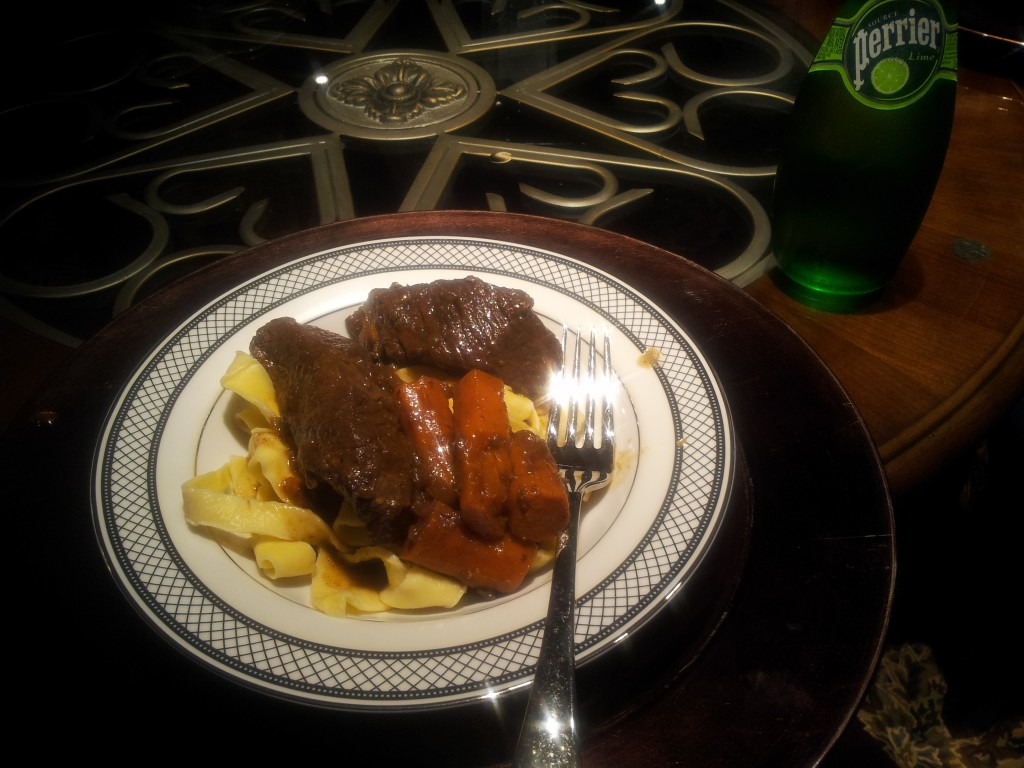 French Braised Short Ribs over Egg Noodles Perrier