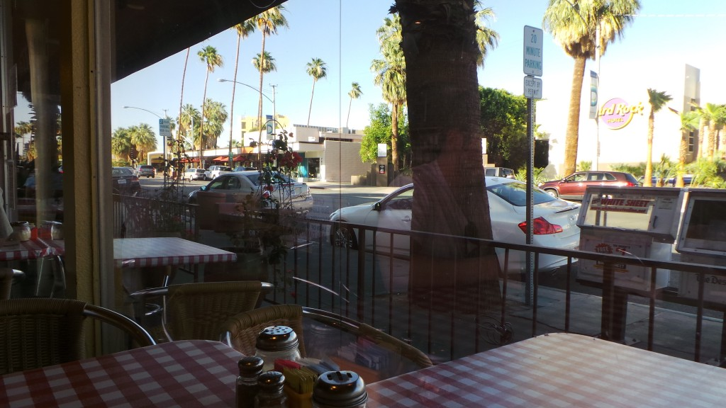 BIll's Pizza Palm Springs Looking Out the Window
