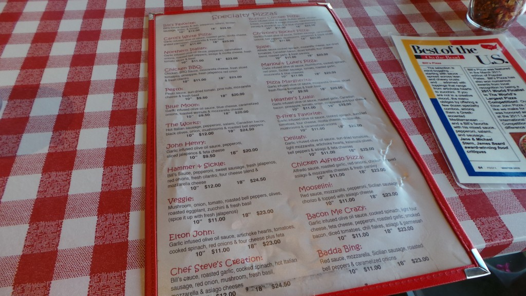 Bill's Pizza Palm Springs Menu