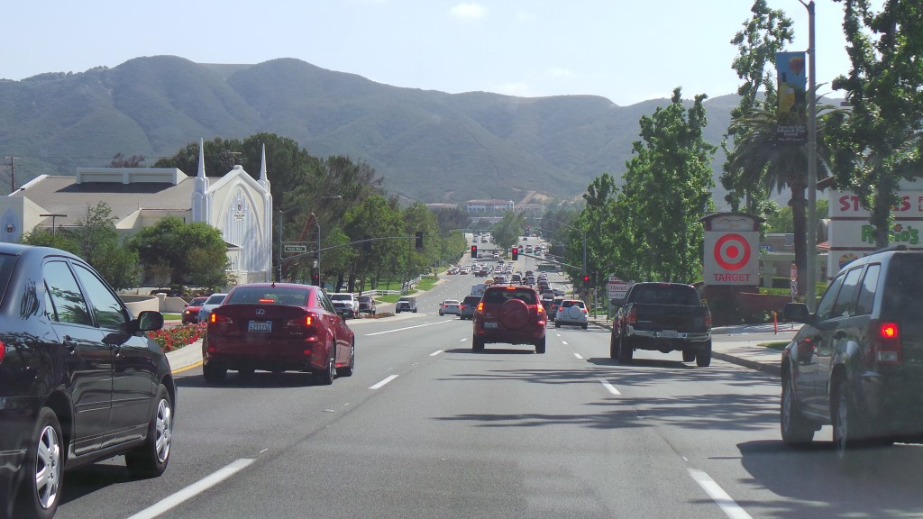 Driving Past Target Toward Mountains in Temecula California