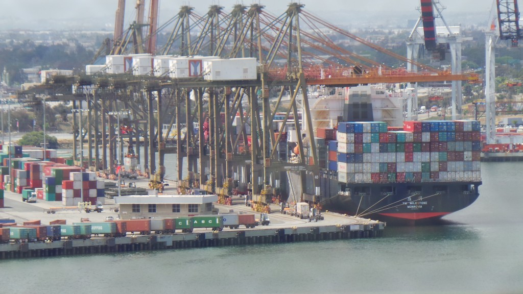 Freight Loaded Onto Cargo Ships