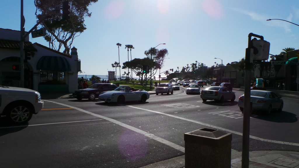 Walking Up to Main Intersection Laguna Beach California