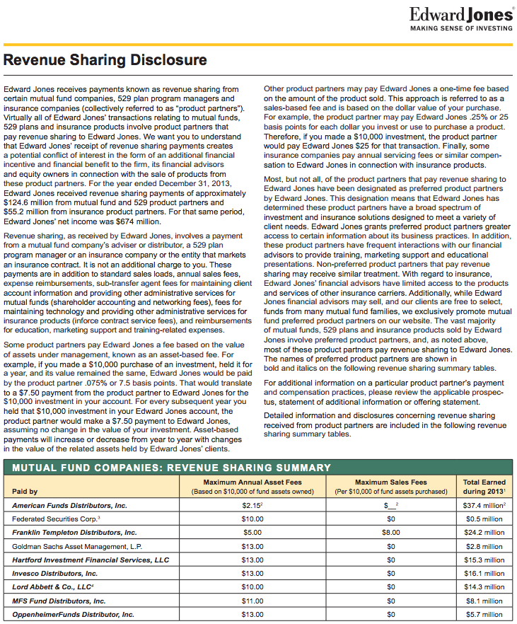Edward Jones Disclosure Revenue Sharing Big Quote