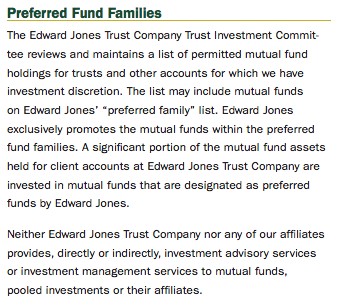 Edward Jones Preferred Fund Family Disclosure