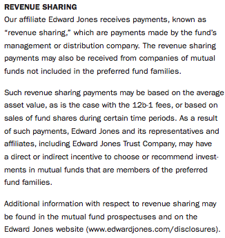 Edward Jones Revenue Sharing Disclosure