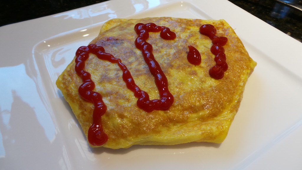 Finished Omurice with Ketchup Rooftop Prince