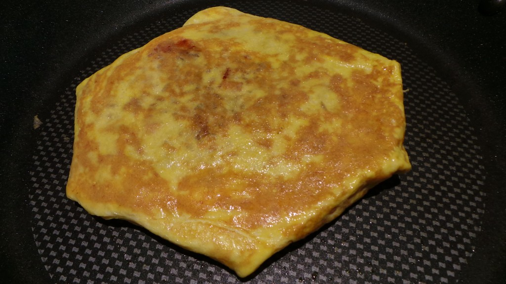 Flipped Omurice Finishing in Frying Pan