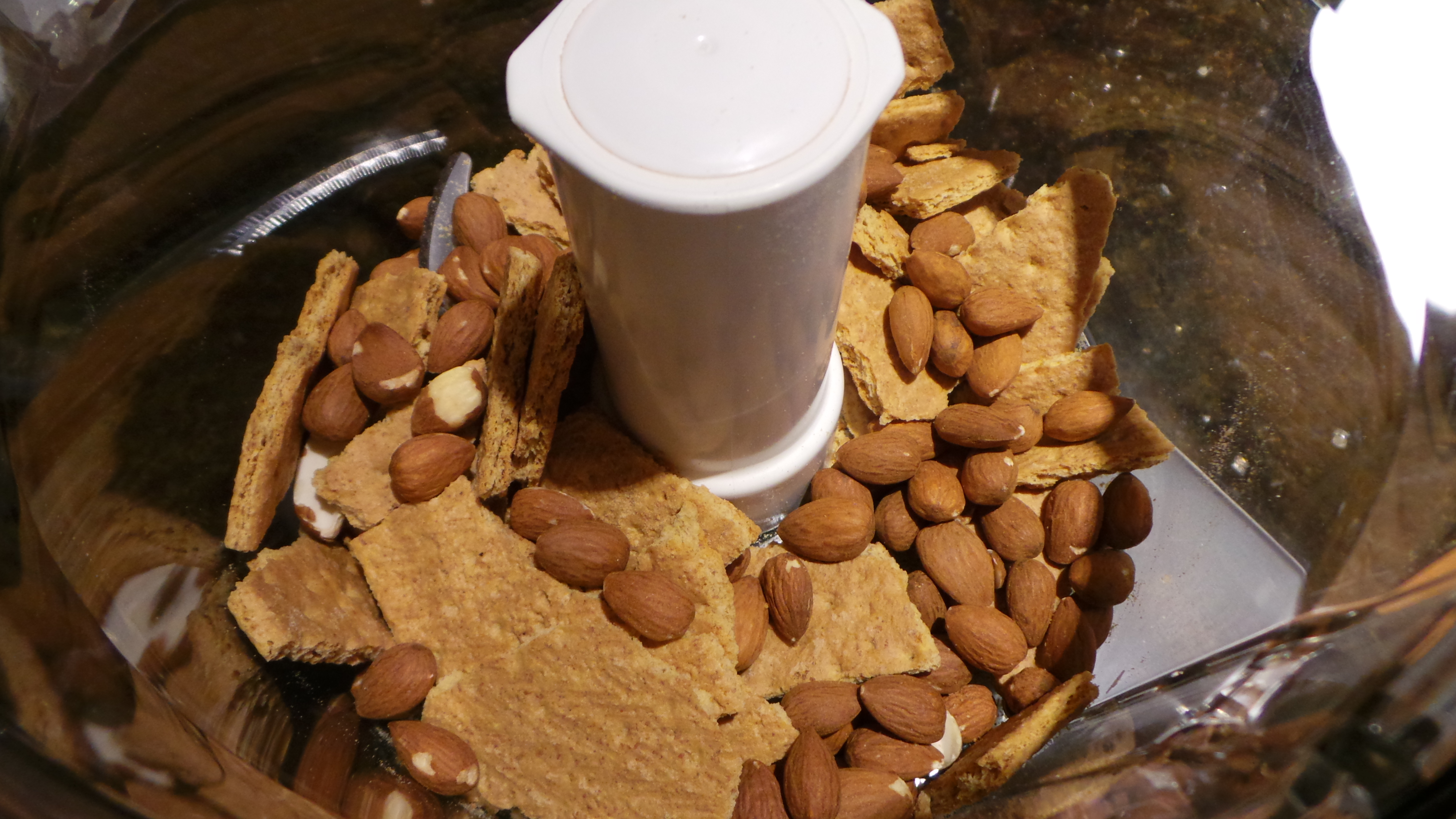 Almonds and Graham Crackers In Food Processor for Crust of Nectarine White Chocolate Cream Pie