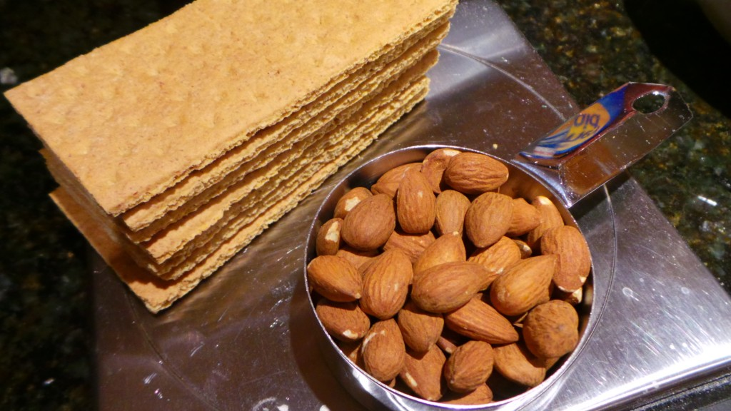 Almonds and Graham Crackers for Nectarine White Chocolate Cream Pie