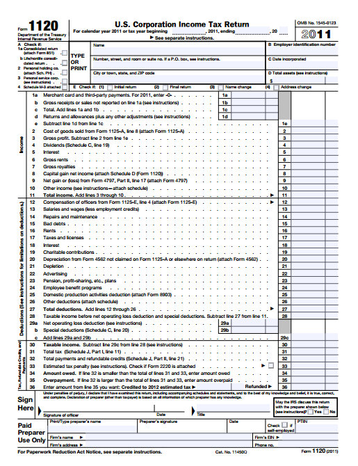 US-Corporate-Tax-Form  Corp Tax Return Form Example on invitation do, filled out, cover page download, grantor statement, completed self-employment, what need mail, accounting letter explain,