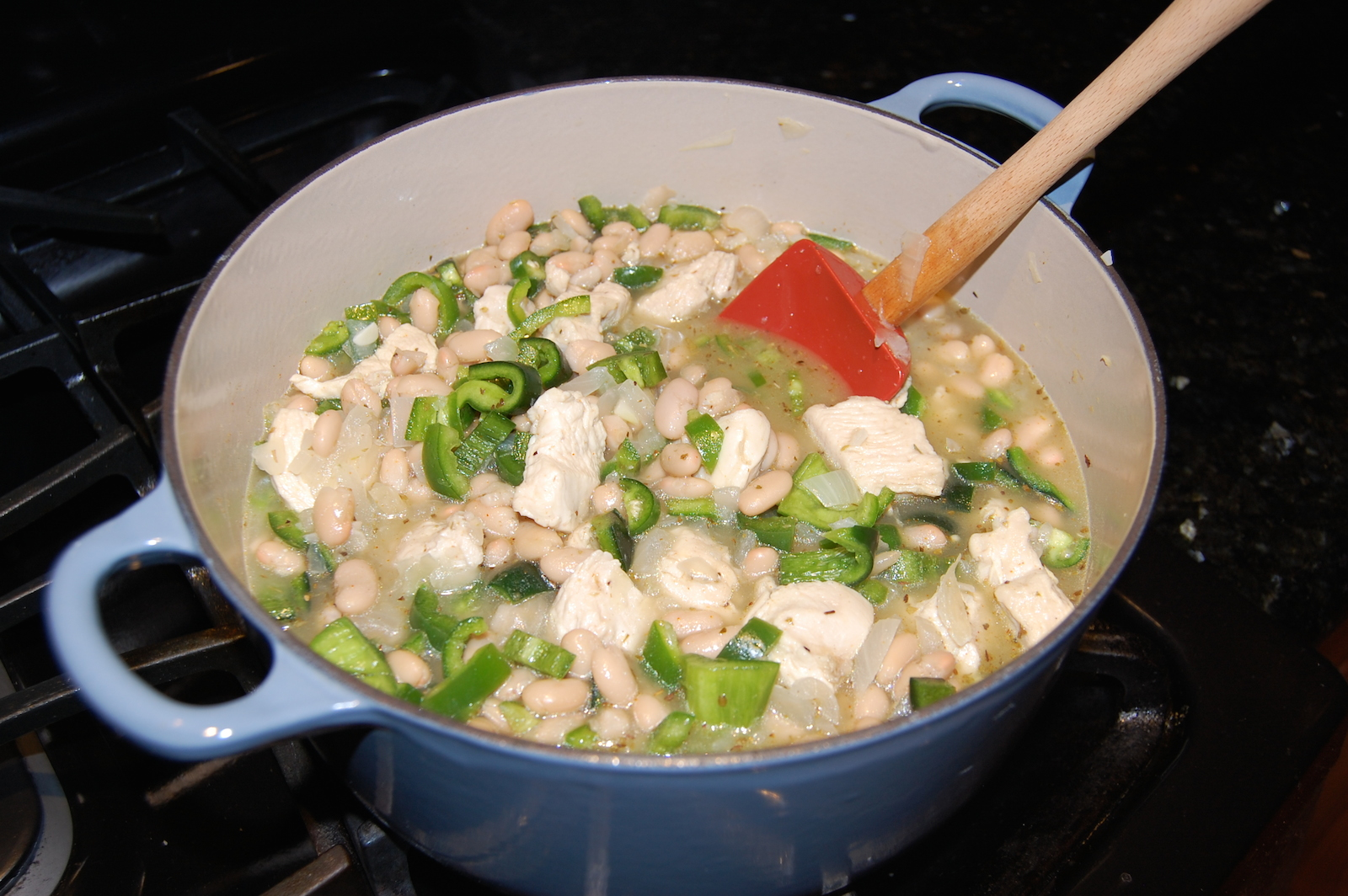 Add the Second Bowl to White Chicken Chili Recipe on Stove and Bring to Simmer