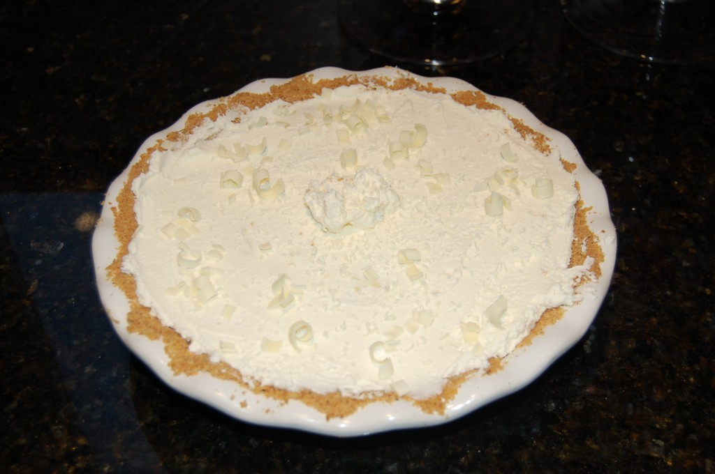 Adding White Chocolate Shavings to White Chocolate Cream Pie