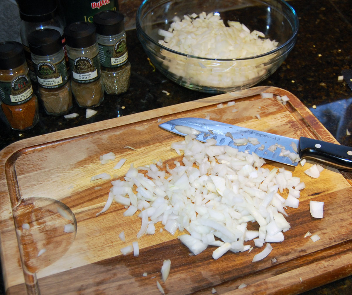 Cut up the Onion for White Chicken Chili Recipe