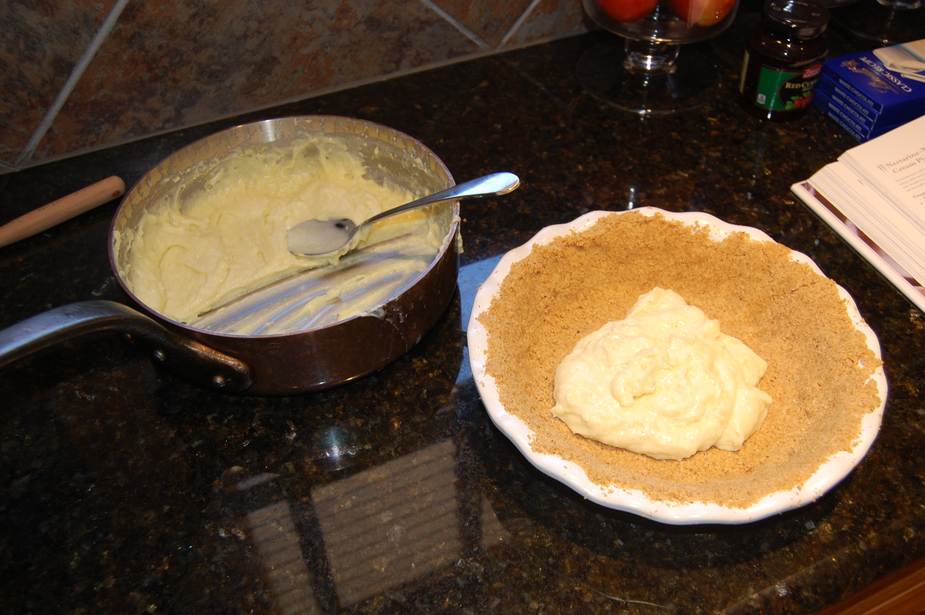 Fill the Base of the White Chocolate Cream Pie