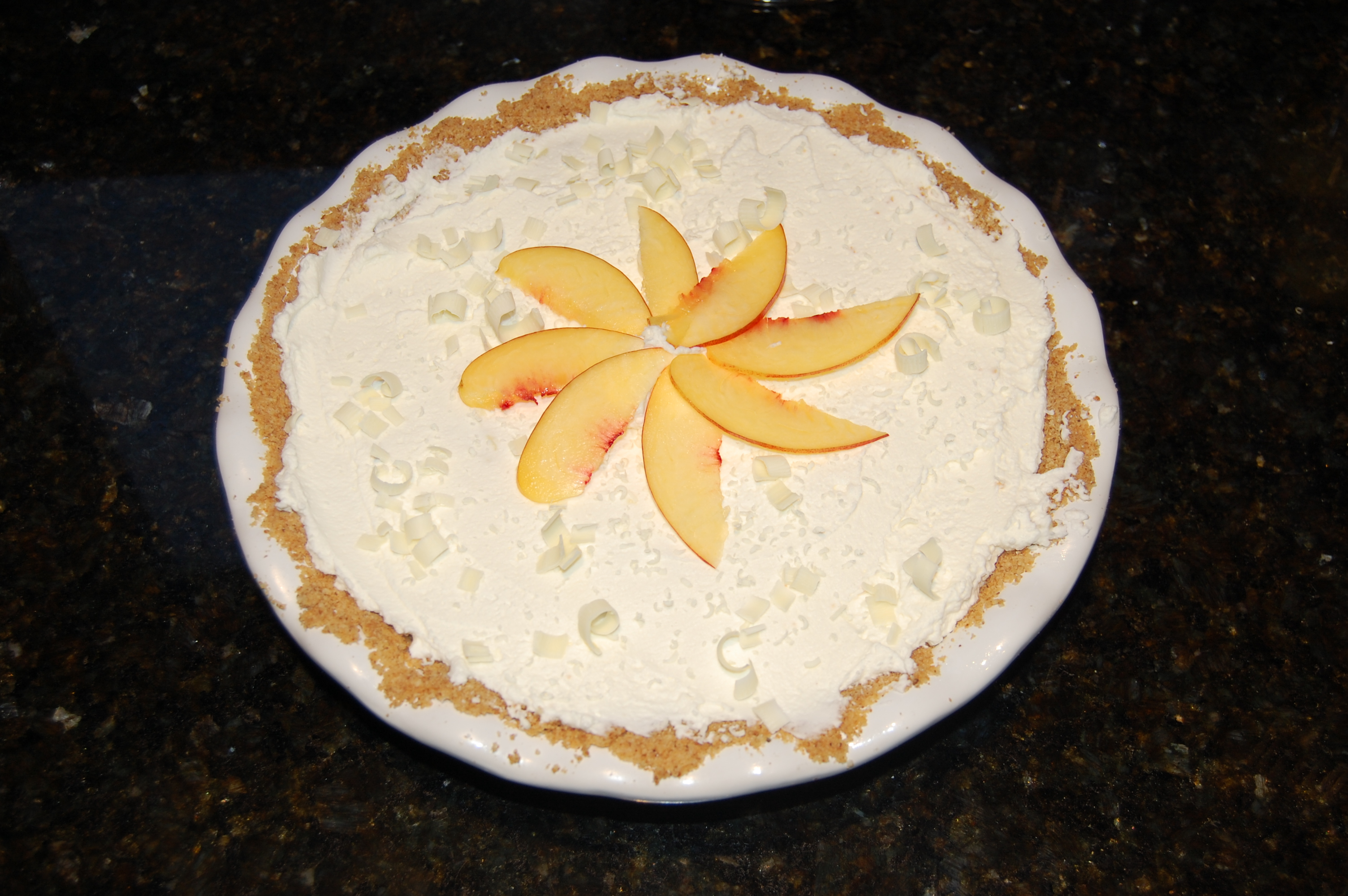 Joshua Kennon Finished Nectarine White Chocolate Cream Pie Recipe for Dessert