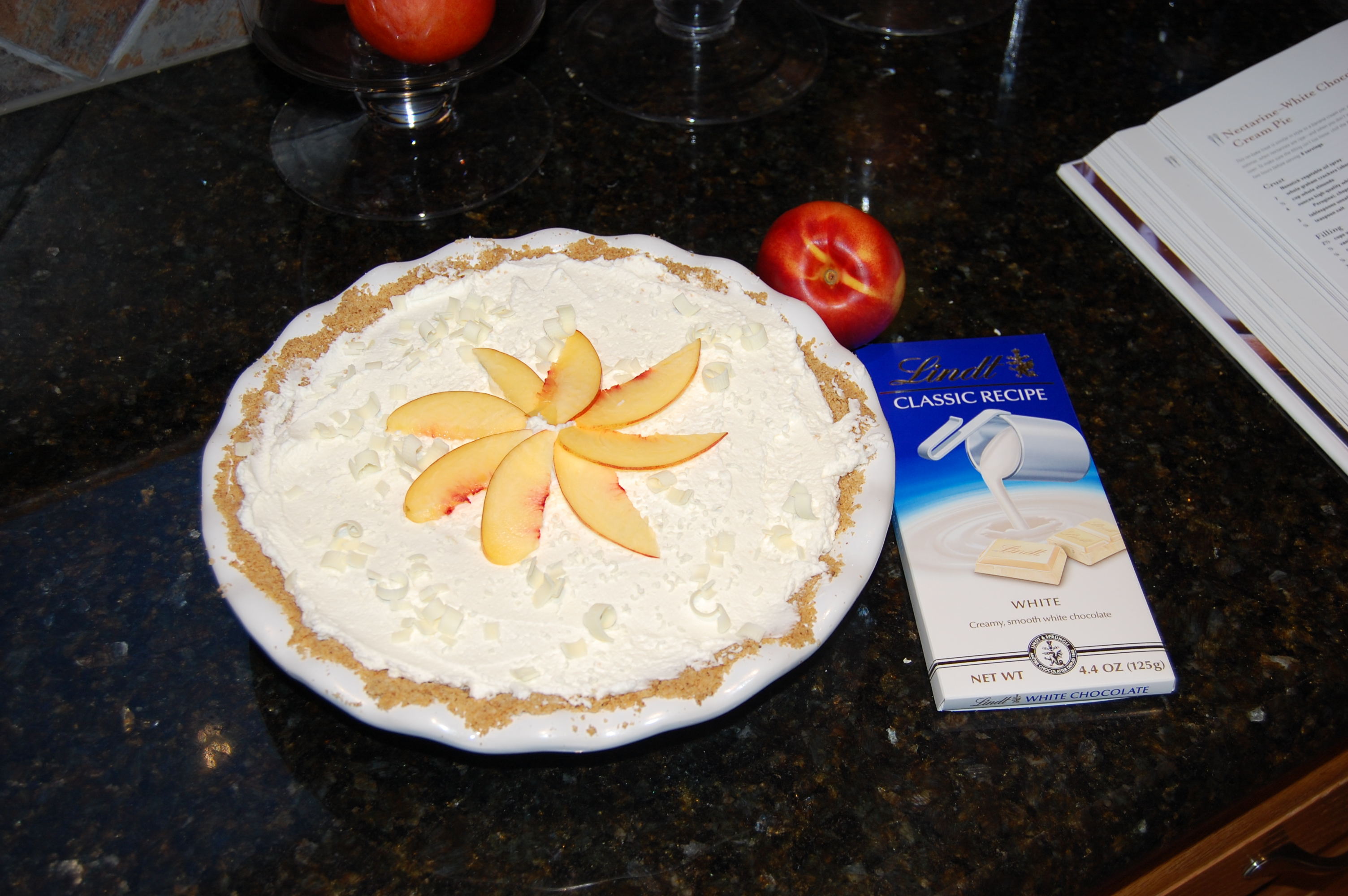 Lindt White Chocolate and Nectarine Cream Pie
