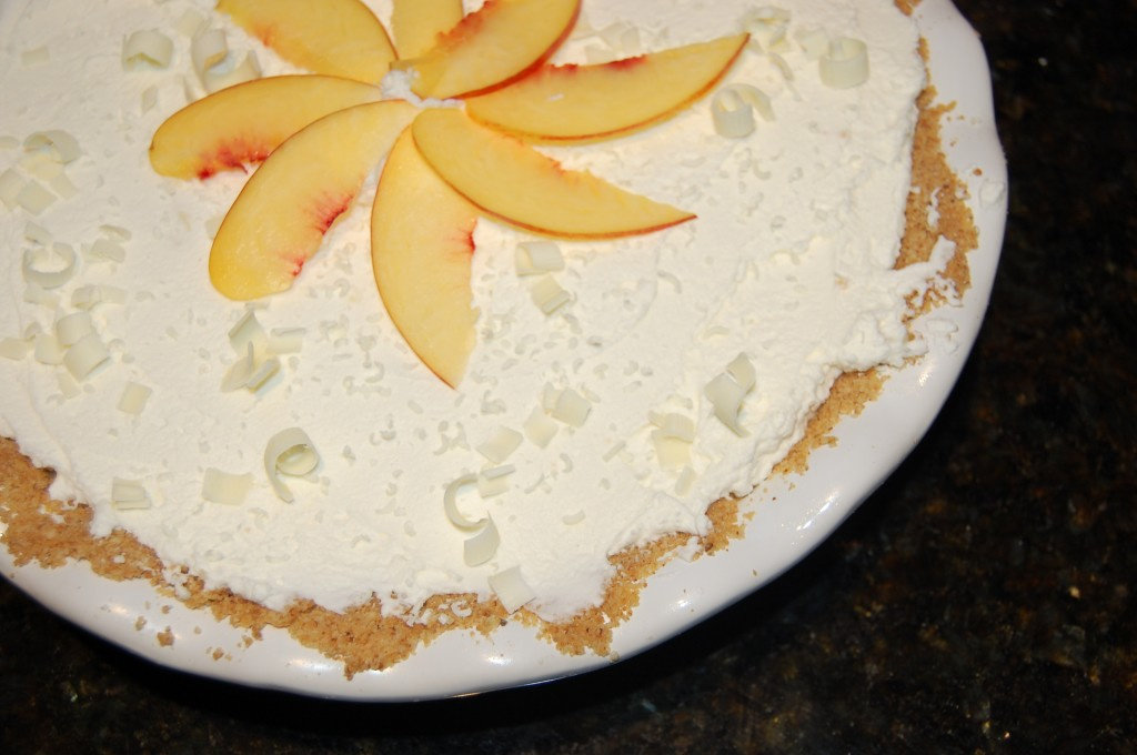 Nectarine White Chocolate Cream Pie Closeup