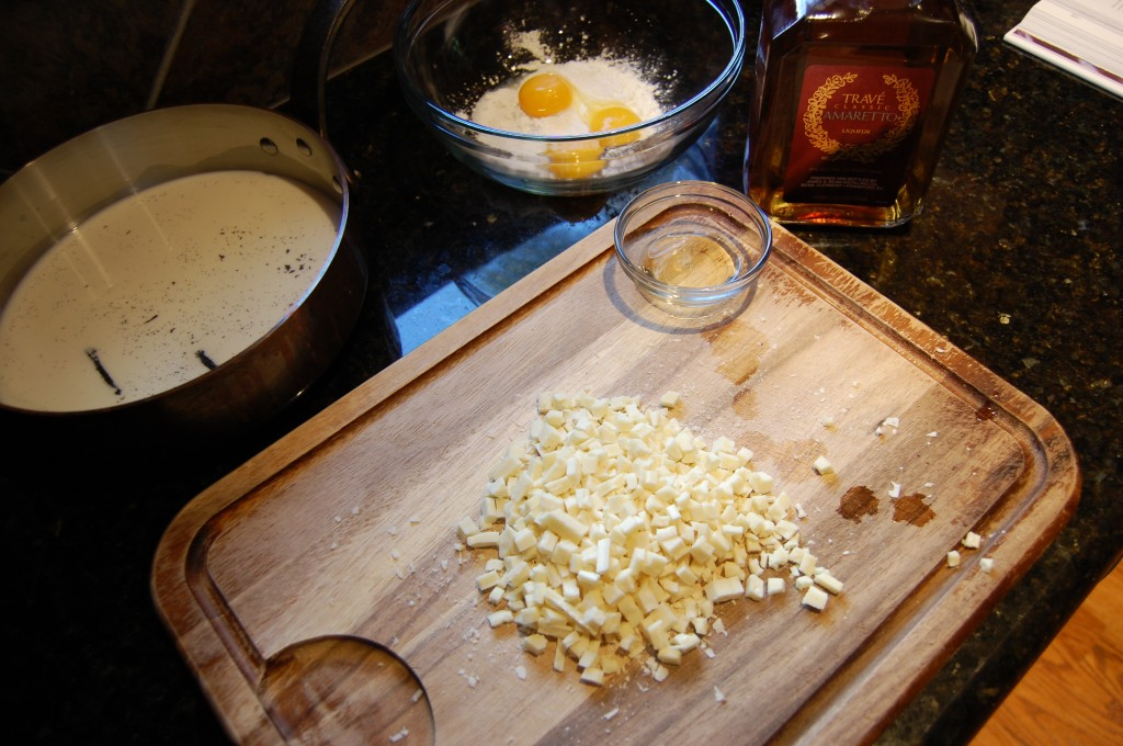 Ready to Make the Nectarine White Chocolate Cream Pie Filling on the Stove