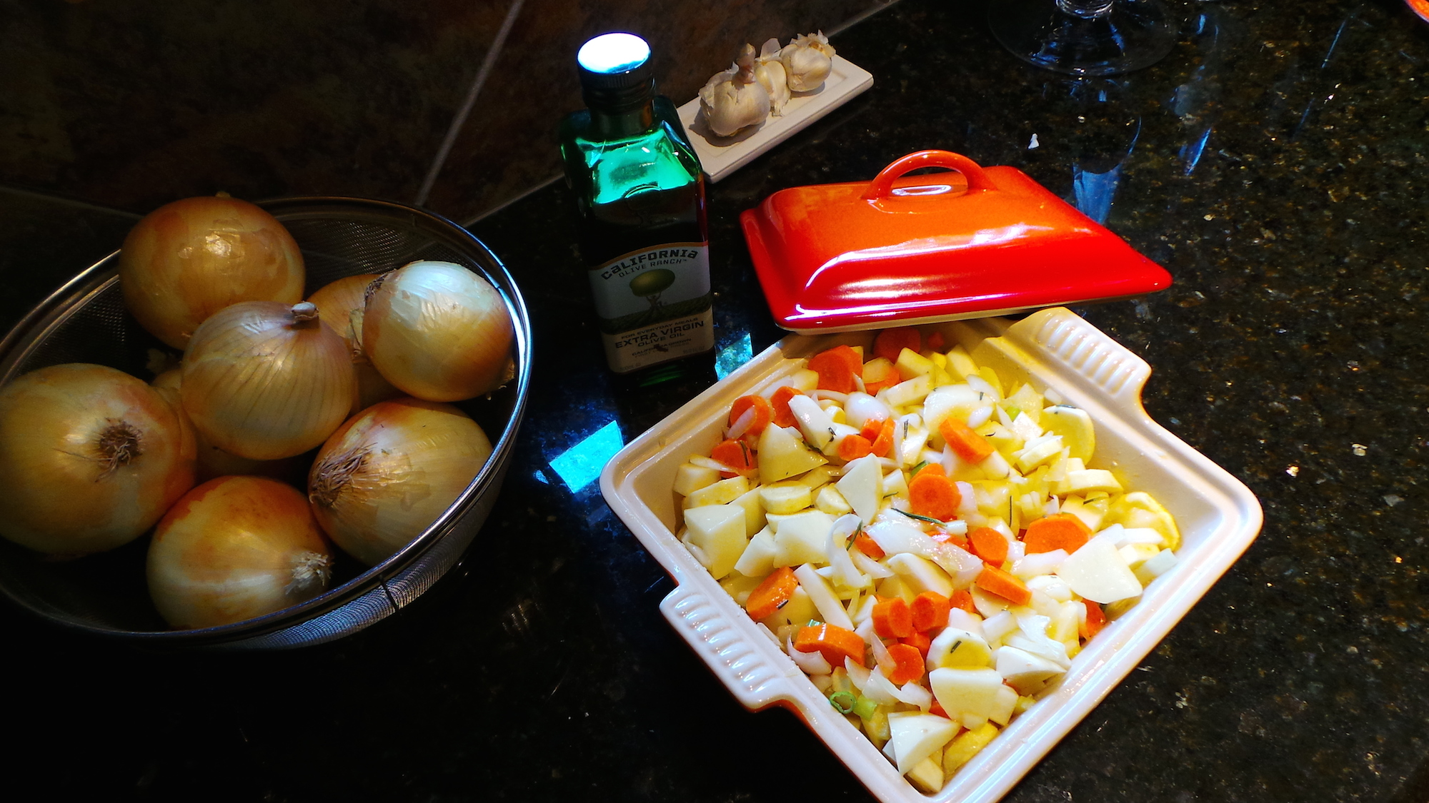 Slow-Roasted Vegetables and French Onion Soup