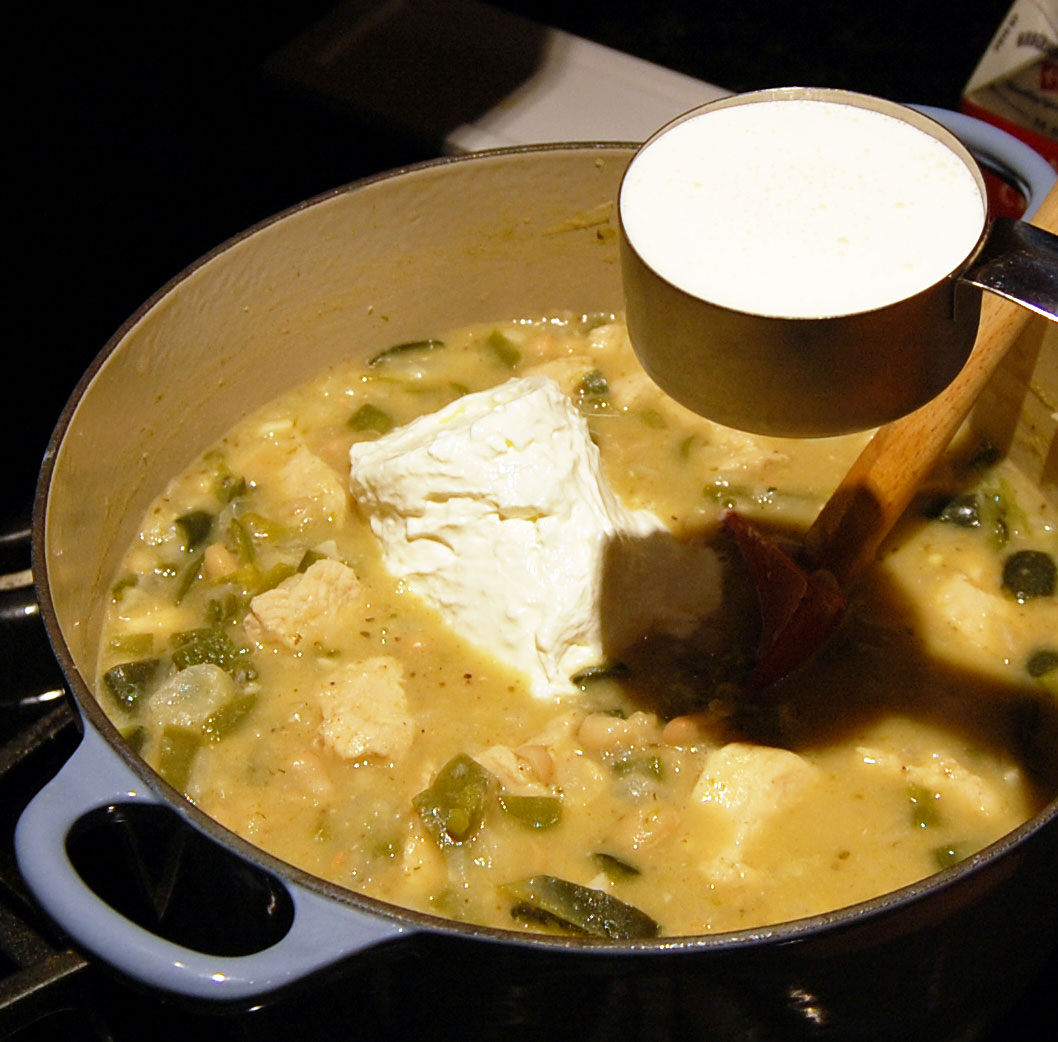 Sour Cream and Heavy Whipping Cream for White Chicken Chili Recipe