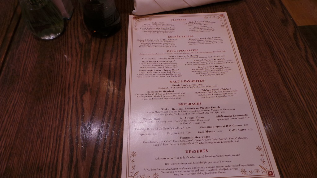 Disneyland Carnation Cafe Menu