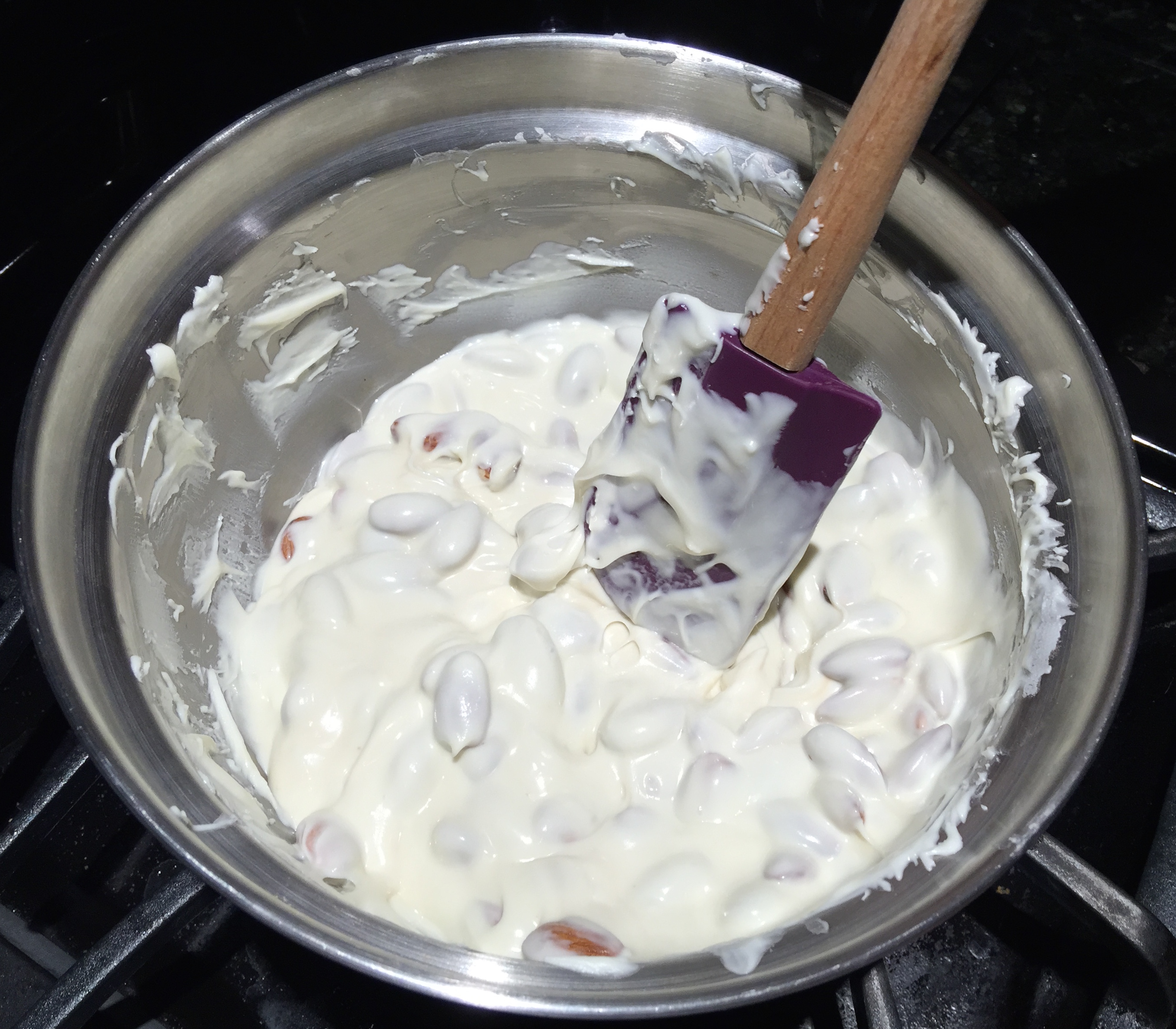 Mixing Almonds and White Chocolate