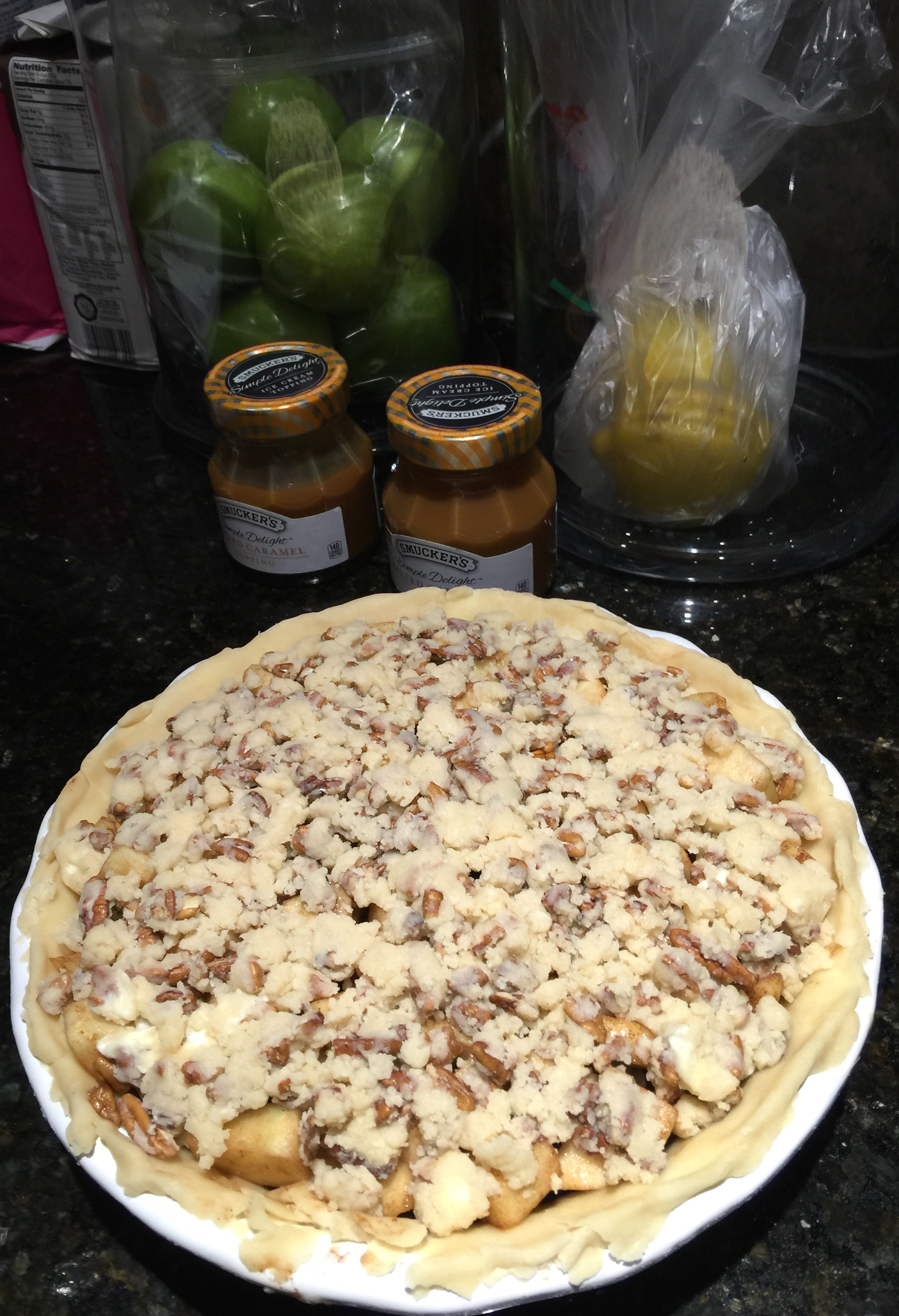 Topping Put On Caramel Pecan Apple Pie Ready for Oven