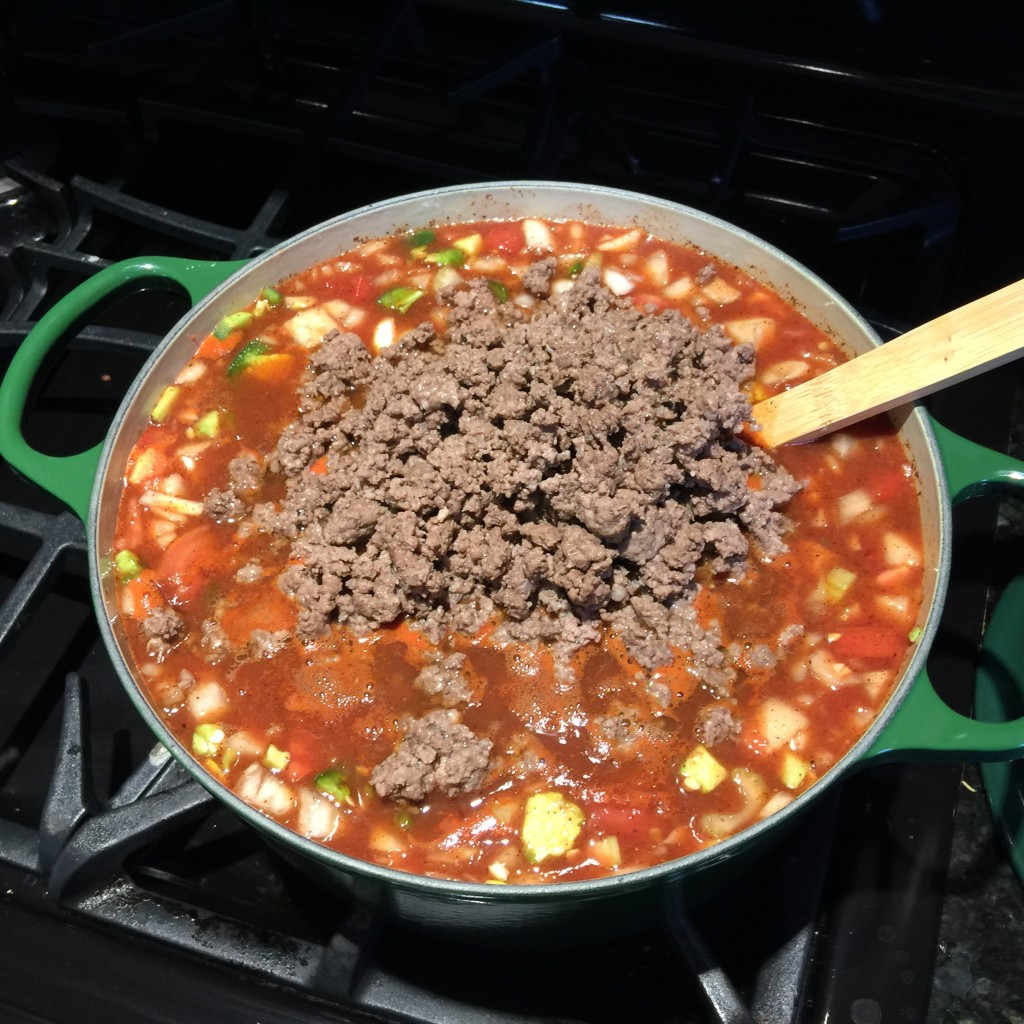 Drain the ground beef of its fat and then add the beef to the chili pot