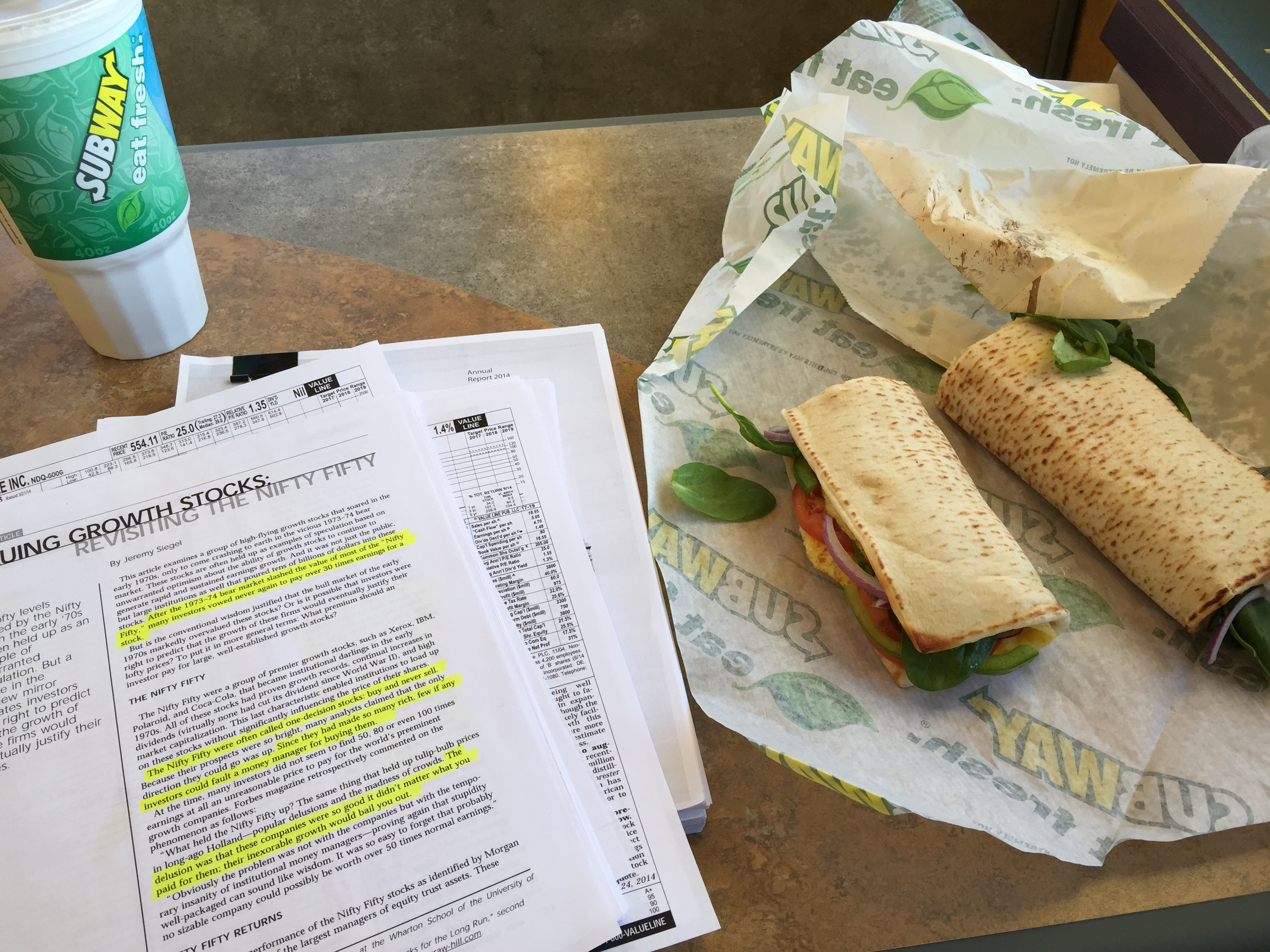 Reading at Subway