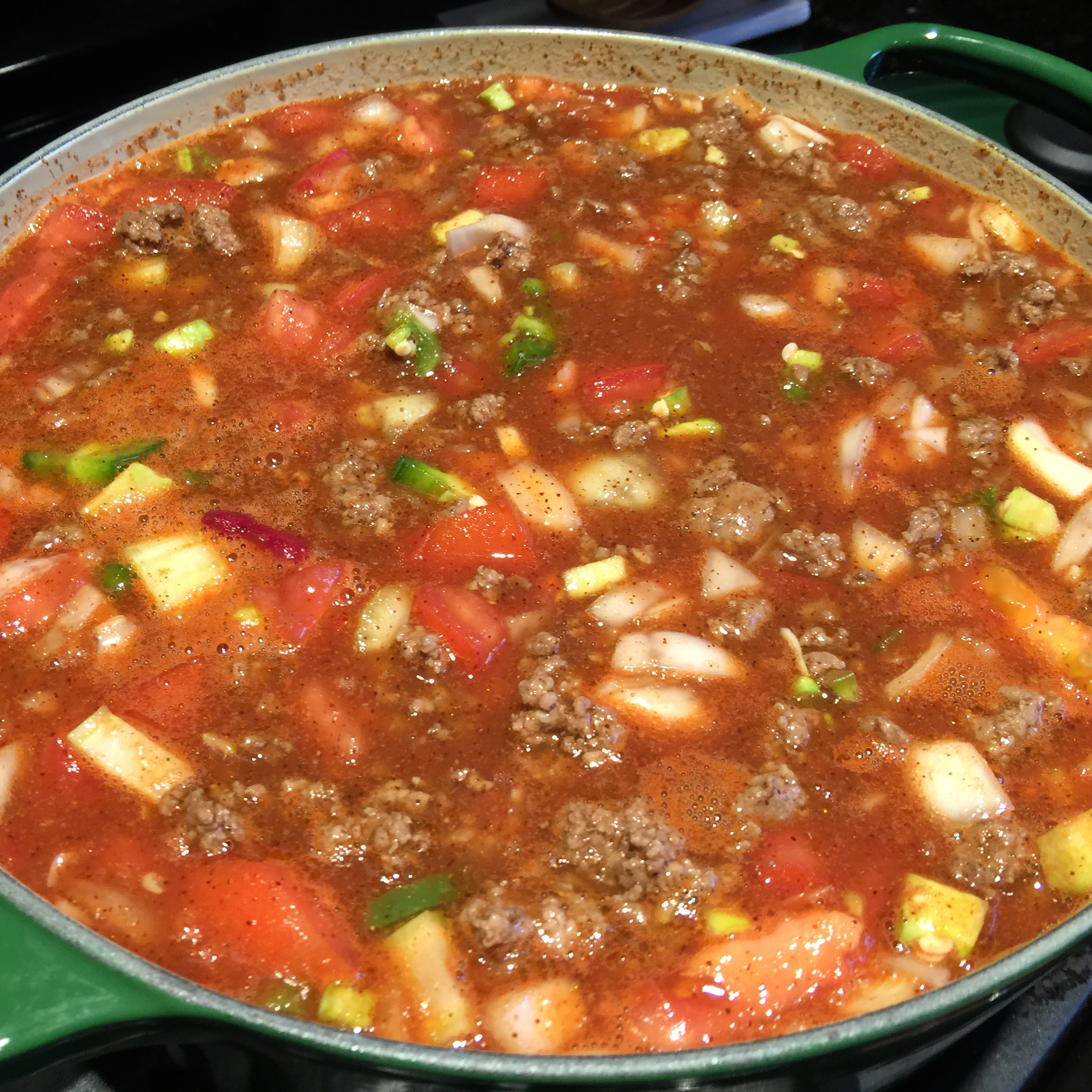 Stir the chili pot together and turn the heat up to medium