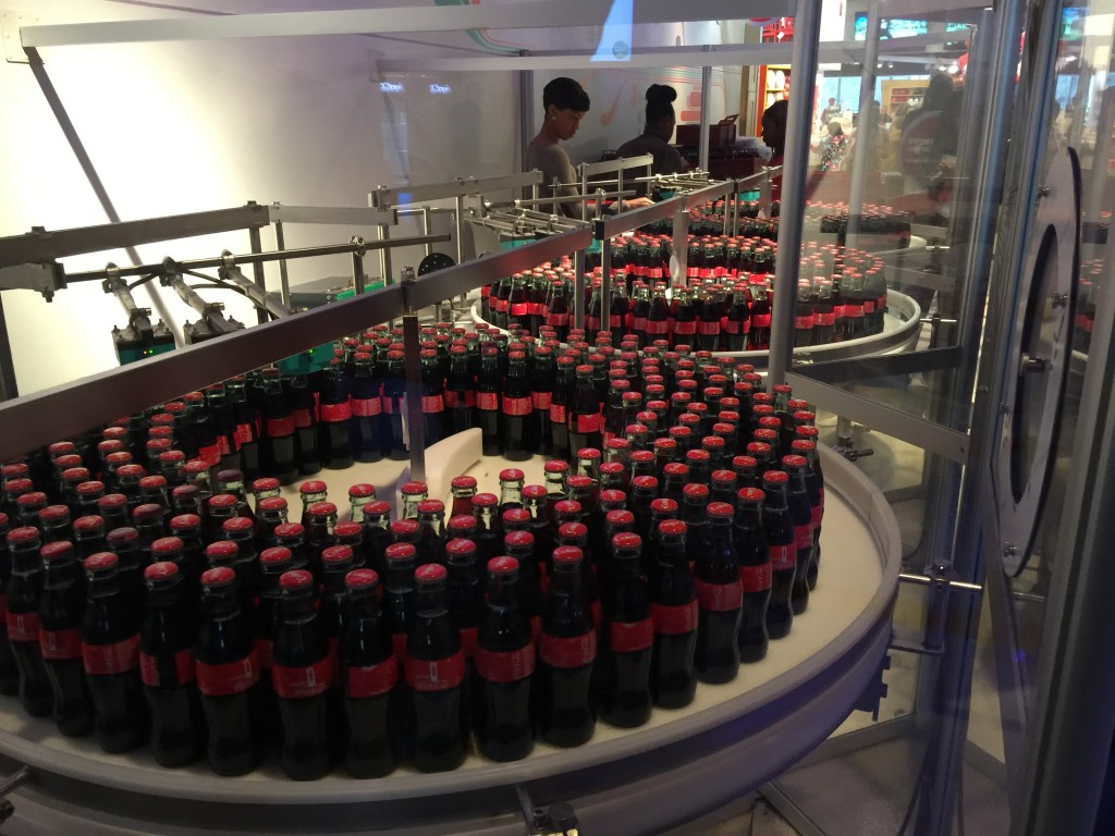 Bottles of Coca-Cola at World of Coke in Atlanta Georgia