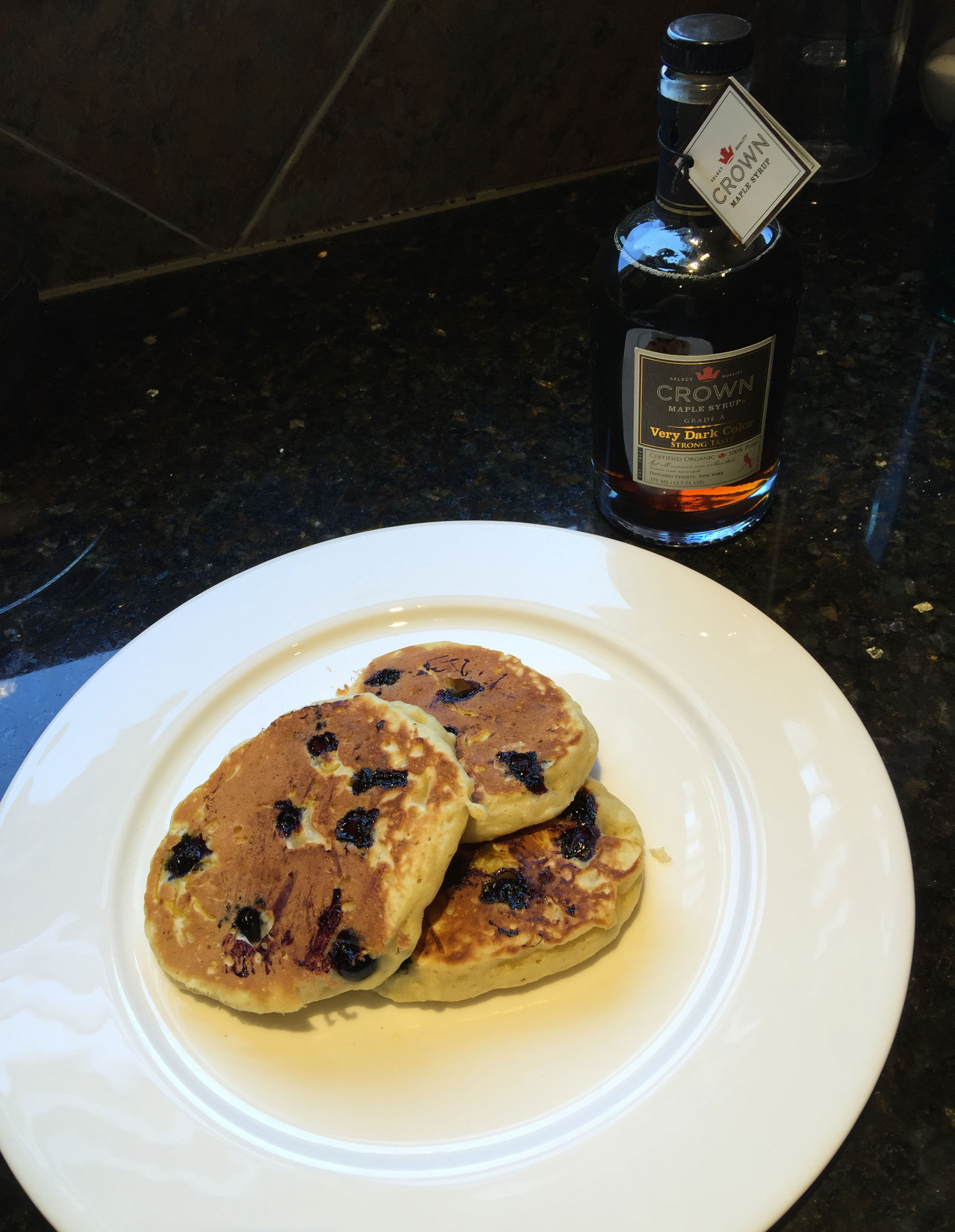 Crown Maple Syrup on Blueberry Lemon Pancakes