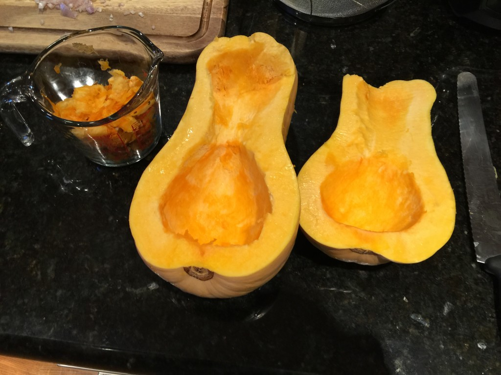 Empty Butternut Squash and Save Seeds and Fibers