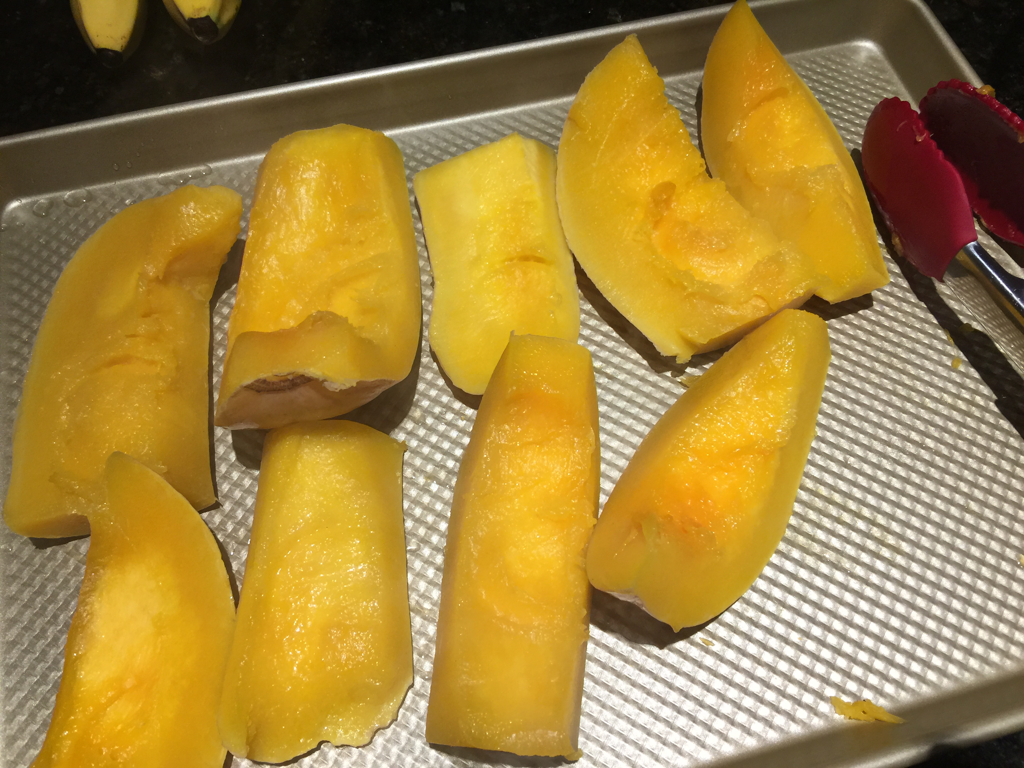 Put Steamed Butternut Squash on Cookie Sheet