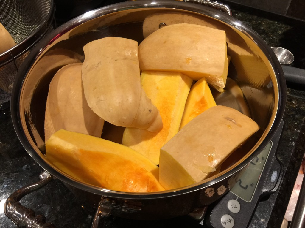 Steaming Butternut Squash for Soup