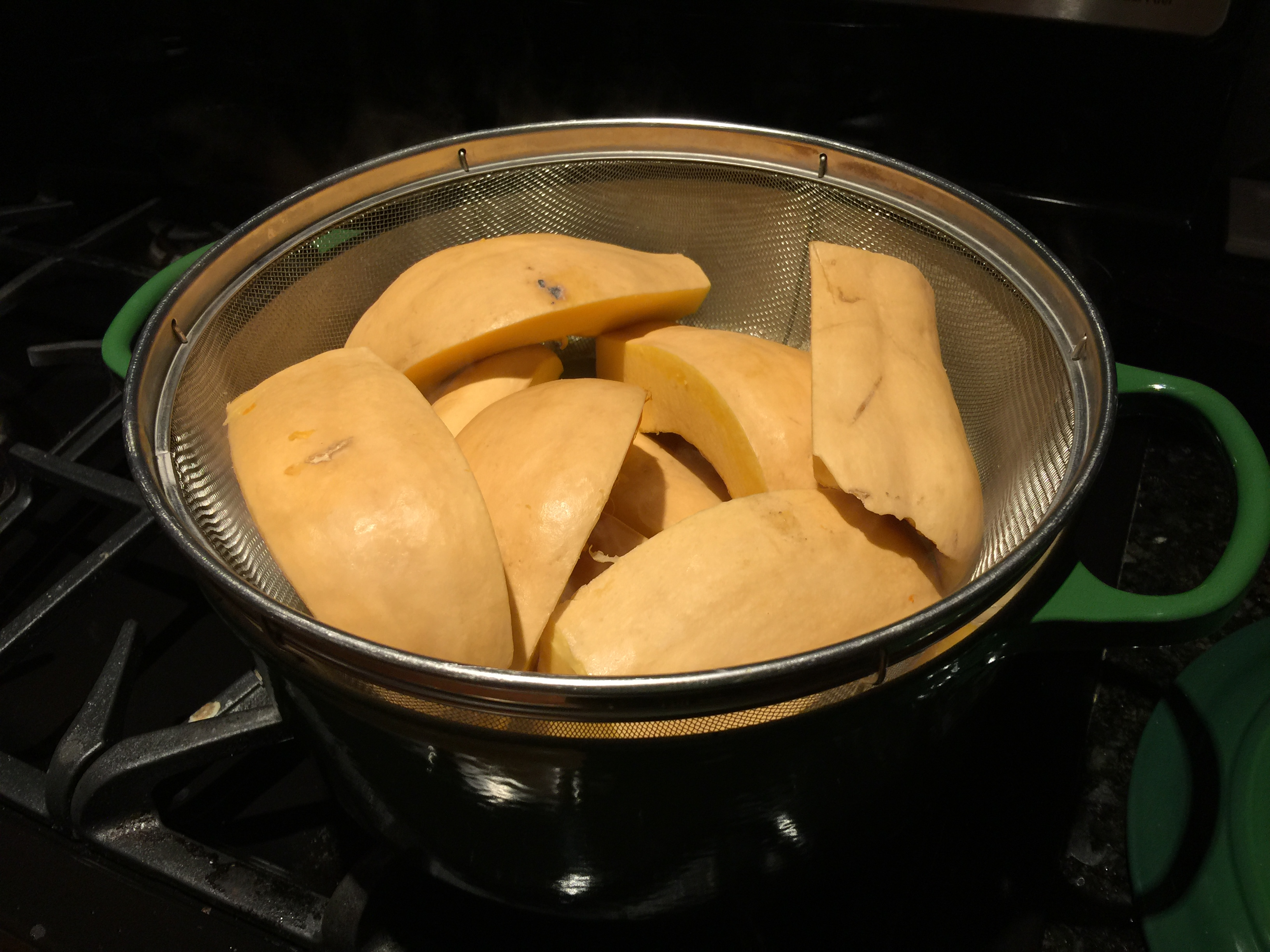 Steaming Butternut Squash for Soup in Dutch Oven