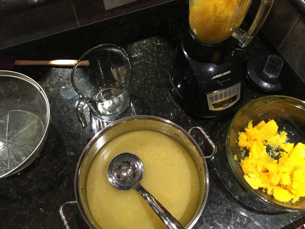 Take Everything to Counter to Begin Assembling Butternut Squash Soup